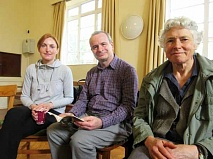 Michael King, a founder member of the Barnet Poetry Group, with new member Anita Butler, and on his left Jane Strange