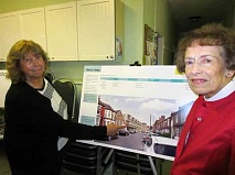 Christine Pugh (left) and Jean Broadhurst get their first chance to see the block of flats that is planned to take the place of the Fern Room in Salisbury Road