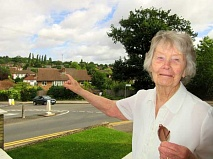 Betty Fanning at her house in Potters Road, looking across the Meadway towards King George's Fields