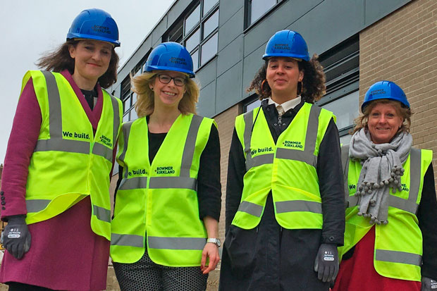Theresa Villiers, MP for Chipping Barnet, at Barnet Ark Pioneer Academy. From left to right, Ms Villiers, Ms Ryan, Laurie Grist, head of projects Ark schools, and Claire Barnes, chair of governors