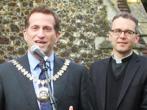 Councillor Mark Shooter, Mayor of Barnet, with the Rector Thomas Renz