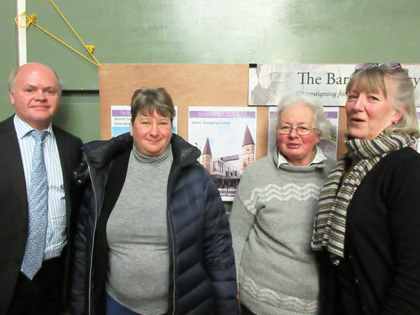 Councillor David Longstaff has assured residents there will be another consultation on a further extension to the Barnet Hospital CPZ. From left to right, Councillor Longstaff, Ruth Lederman, Angela Morris and Patricia Yorke