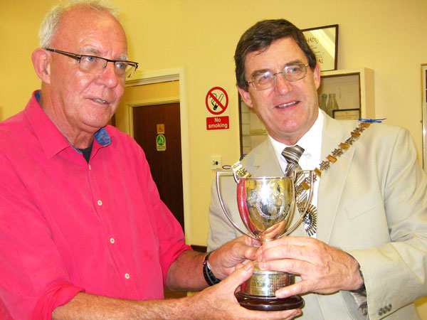 Geoff Hood, chairman of Barnet Beekeepers, being presented with the Ellis Cup by the Mayor of Barnet