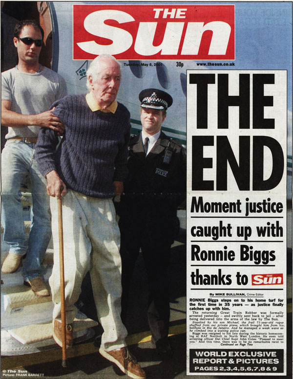 The Sun front page at the time