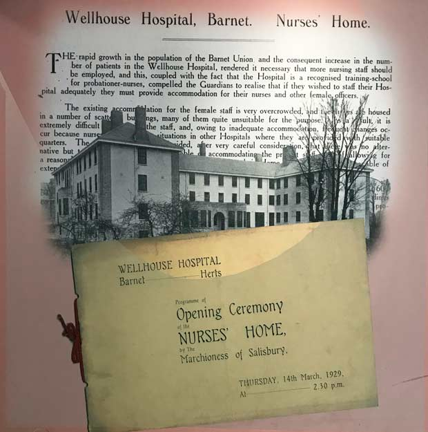 An early photograph of the nurses' home alongside an invitation to its official opening on March 14, 2019