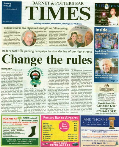 Barnet Times joins the campaign with 8th January edition