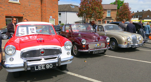 Jon and Janine Richard's Nash Metropolitan; Beverley Green's Morris Minor Convertible; and Lewis Green's V8 Daimler