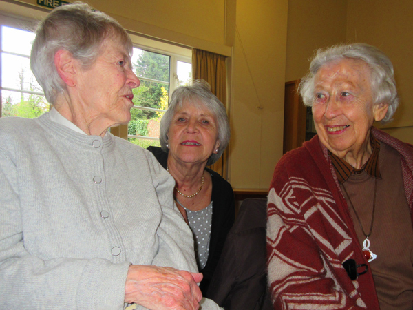 Long-standing members of Barnet Poetry Group, from left to right, Patricia Kent, Carole Euesden, and Jean Cardy