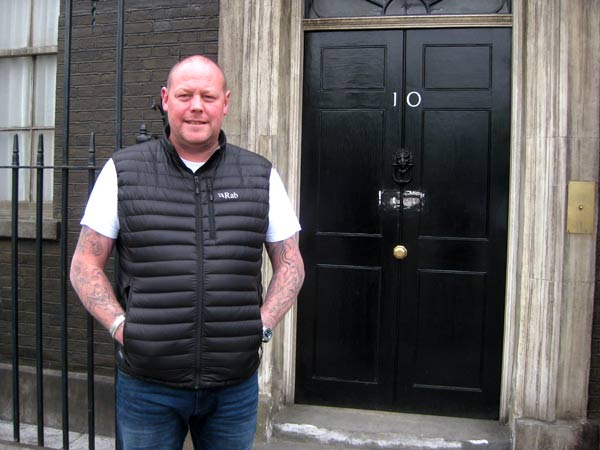 Ben Dillon at the door of 10, Downing Street – just one of the sets on the back lot at Elstree Film Studios