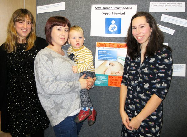 Rebekah Smith (far right) is at the forefront of the campaign to save Barnet Breastfeeding service. (From left to right) Sara Starr, Natalie Wilson and her 18-month-old son Oliver, and Ms Smith