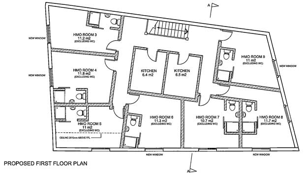 The planning application showing the lay-out of the seven rooms and two communal kitchens on the first floor of the former Barnet Antique and Vintage Centre