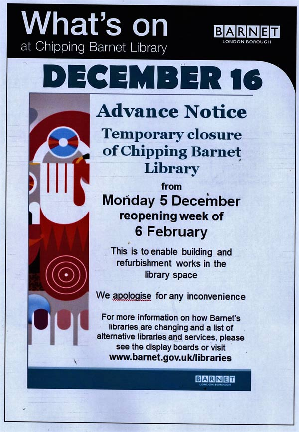 Chipping Barnet library announcement