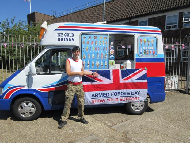 Lance Corporal Senol Hussein, and a friend's ice cream van