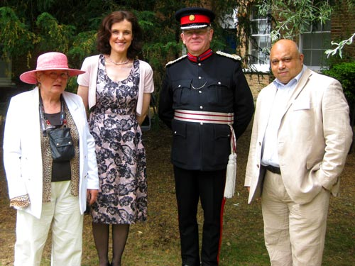 Dr Gillian Gear at Barnet Museum's tea in the park in June 2014 with Mrs Theresa Villiers, MP, Martin Russell, Deputy Lord Lieutenant of Greater London, and Mike Noronha, co-archivist.