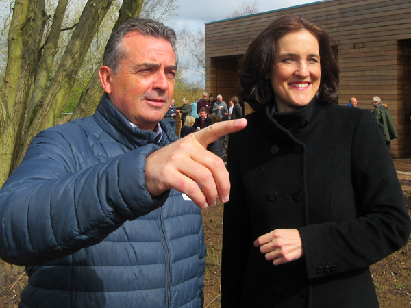 Michael McInerney shows the Chipping Barnet MP Theresa Villiers the site