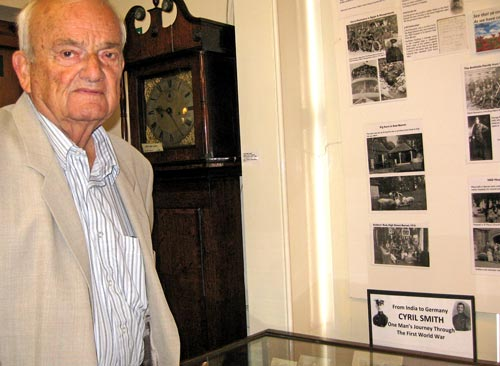 Geoffrey Smith (84) of Dury Road, Hadley Green, beside a display of memorabilia reflecting the life of his father Cyril Smith who served under Gen. Julian Byng at the second Battle of the Somme