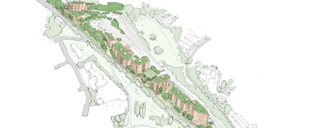An artist's impression of the blocks of flats to be built on land around High Barnet tube station, alongside Barnet Hill, from the junction with Meadway to the bridge at Underhill