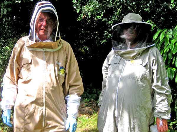 Geoff Hood (left), chairman of Barnet District Beekeepers Association, with new member Jeremy Main who hopes to get his first hive next year
