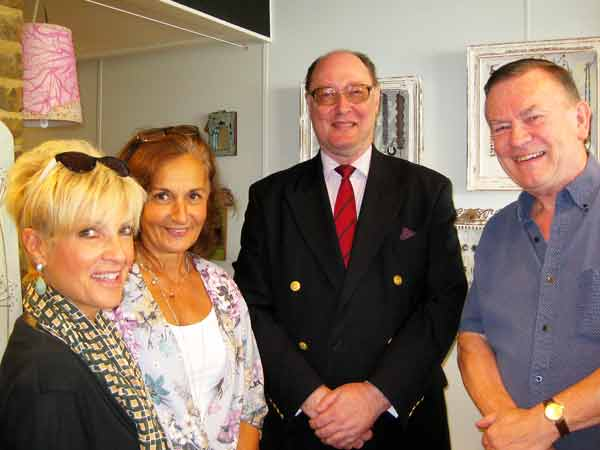 From left to right: Gail Laser of Love Barnet; Julie Eve, stockist of cards and cushions; and Stephen Lane and Tony Alderman, two of the Eleanor Palmer trustees