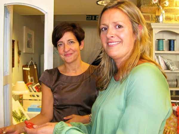 Admiring crafts and products two of the vendors, (from left to right) Giovanna Consigli, selling oils and soaps, and Jane Northam, stockist of home furnishings and furniture