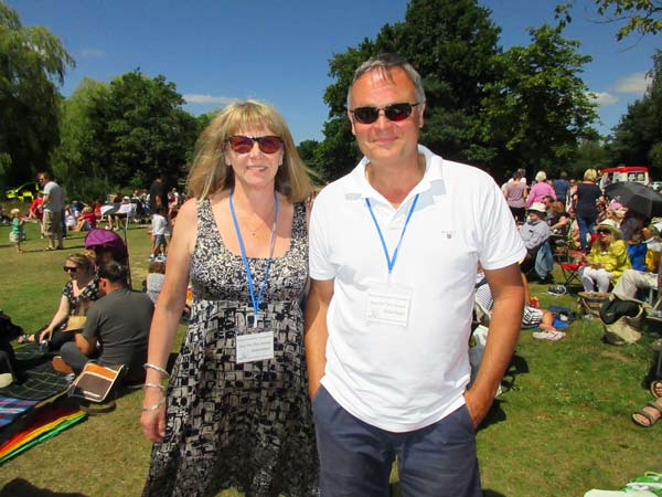 Organisers of Jazz on the Green, Colette Brideson, Treasurer of Hadley Residents Association, and committee member David Chapman