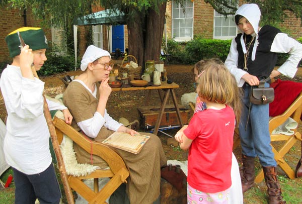 Debra Murray of the Medieval Siege Society had a captive audience as she described medieval money and customs
