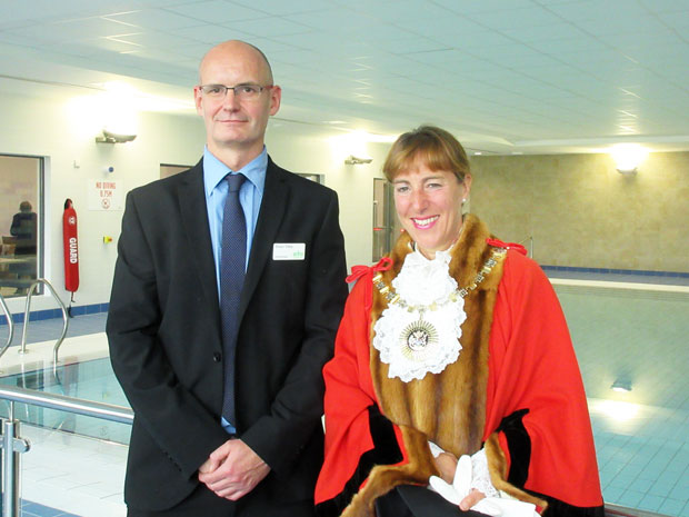Shaun Tolley, general manager of the New Barnet leisure centre, with the Mayor of Barnet, Councillor Caroline Stock, at the learner swimming pool