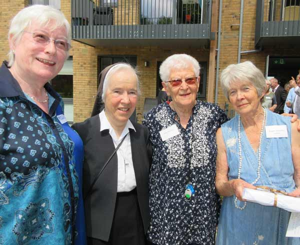 """Stubborn but steadfast"" – pioneers of the Older Women's Cohousing Community celebrate the opening of their Union Street complex. From left to right, Maria Brenton, consultant, Sister Christina O'Dwyer, Shirley Meredeen, founder member, Angela Ratcliffe, convenor"