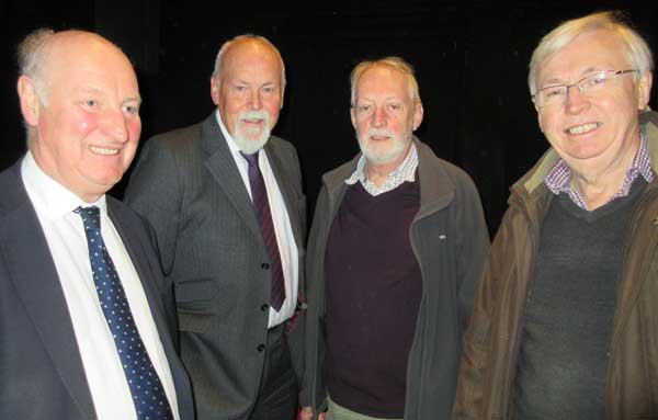 (from left to right) Councillor Corneliius, Bob Burstow, secretary of the Barnet Town Team, Robin Bishop, chair of the Barnet Society, and Gordon Massey, chair of Barnet Residents Association