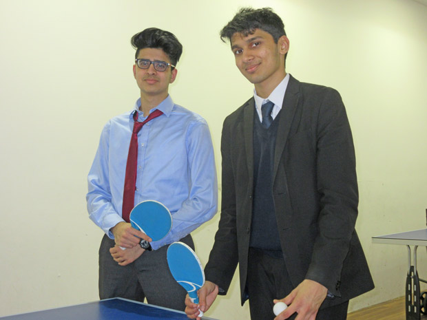 Two Queen Elizabeth's School pupils, Kush Popat (left) and Nikhil Nema, at the Spires' ping-pong lounge