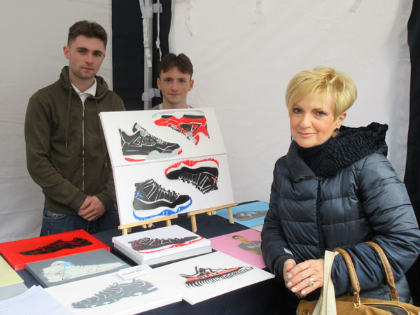 Gail Laser of Love Barnet with Luke Farrelly (left) and his brother Matthew, have started Stencil King, a business selling hand-made stencil-based art work