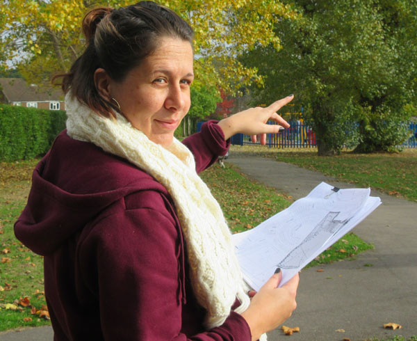 Zoe O'Connor points to trees that are to be felled despite Barnet Council's bat survey