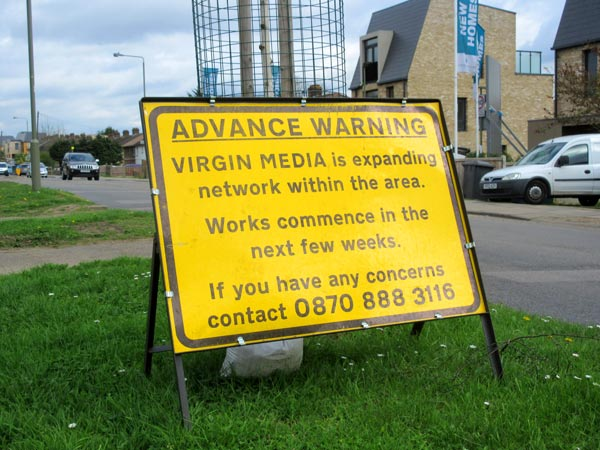 Virgin Media roadworks sign