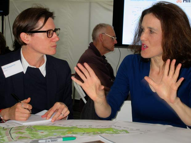 Theresa Villiers, MP for Chipping Barnet, (right) who took part in the community workshop, with Mia Scaggiante from planning consultants Savills.