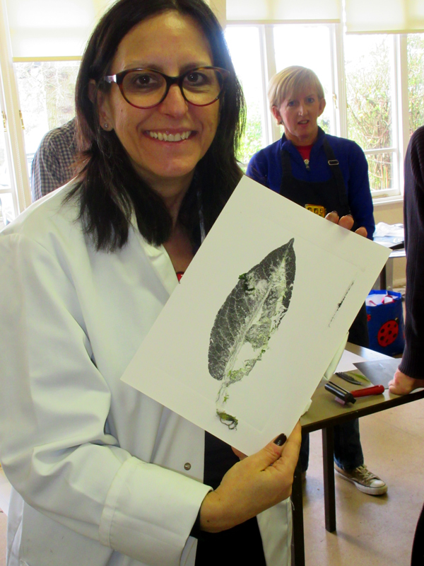 Hayley Lehmann, with her relief mono print after a workshop on print making