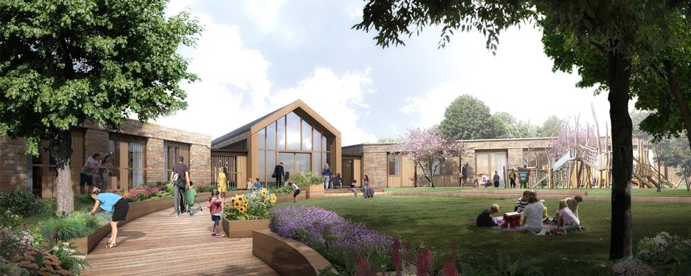 Artists impression of the building showing the sensory gardens