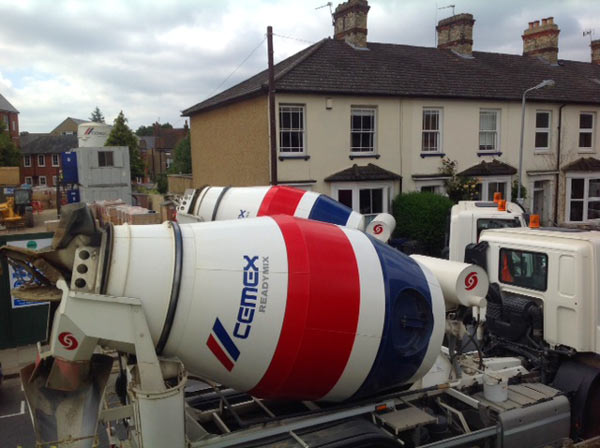 Union Street blocked by cement mixers - photo Nicola Turner