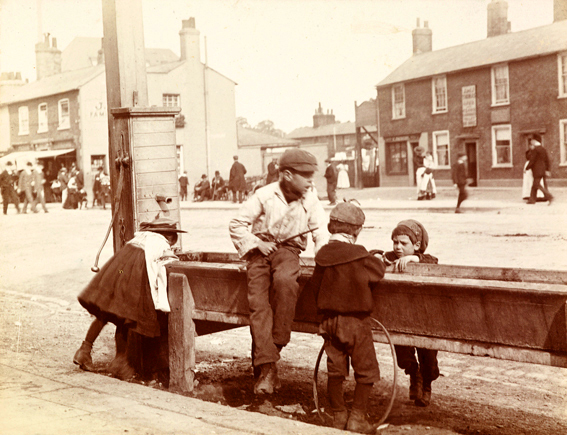 Children playing in Barnet High Street circa 1900