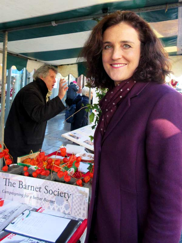 Mrs Theresa Villiers MP visiting the Barnet Society's stall