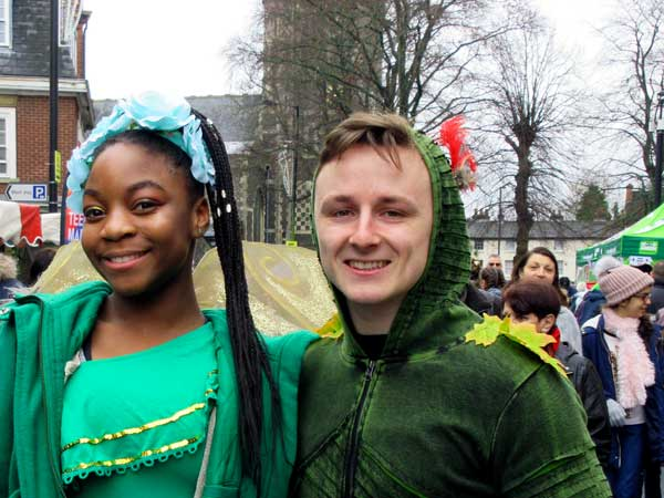 Two stars from the Christmas pantomime at the Bull Theatre – Peter Pan (Josh Fedrick) and Tinkerbell (Miriam Nyarko)