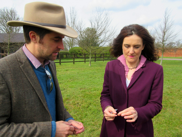 Sam Wilson and Barnet MP Theresa Villiers at the location of a chapel built to commemorate men killed in one of the grisliest confrontations of the Wars of the Roses.  They are seen examining an Edward IV coin that might be linked to the battle.