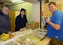 Preparing to serve an evening meal at the night shelter for the homeless at St Mark's Church, Barnet Vale. From left to right, John Hay, Geoff Nicholson and the Reverend Tristan Chapman
