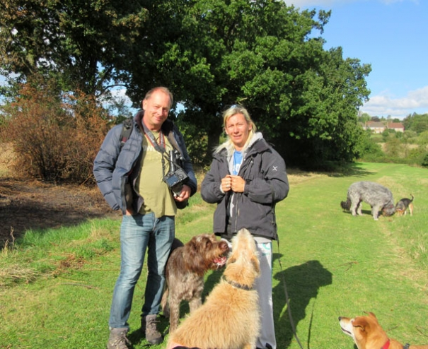 Dog walker Lisa Young with birdwatcher David Martens both oppose the campaign for a natural burial ground