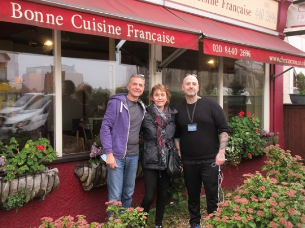 Eric and Claudine Michel, proprietors of Chez Tonton, with head chef Hubert Champion (right)