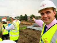 Shawn Moore, construction director, at the Elmbank housing development, says the steep gradient of the site, looking across Dollis Valley, presents quite a challenge
