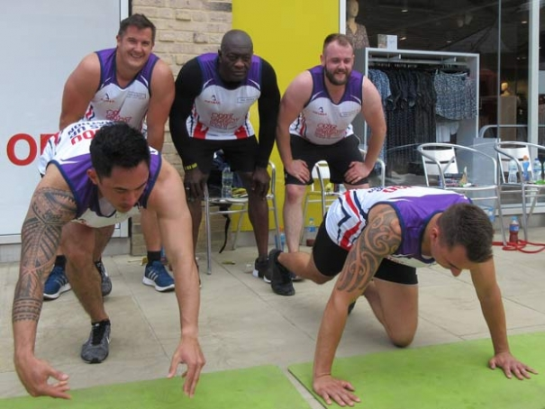 The Spires' team had to complete 20,000 press-ups in the fastest time.