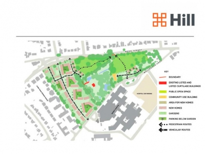 The master plan for redeveloping the Whalebones estate indicates the large field to be used for housing and the two smaller fields that would be designated as green spaces open to the public.