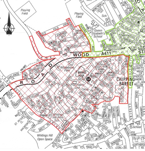 Map of proposed new Controlled Parking Zone