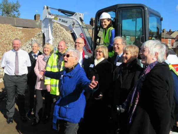 Older Women's Co-housing of Barnet celebrate the start of construction after a campaign that began in 1998