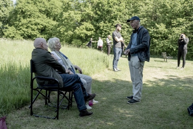 Alison Steadman and Dave Johns (left) talking to film director Paul Morrison while shooting 23 Walks